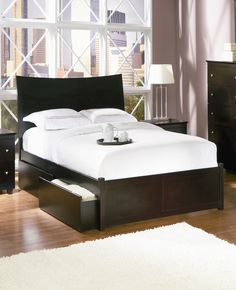 Atlantic Furniture Milano Platform Bed with Flat Panel Drawers