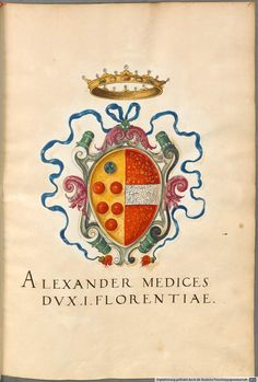 Medici coat of arms, Insignia Florentinorum - BSB Cod.icon. 277, [S.l.] Italian, 1550-1555, http://opacplus.bsb-muenchen.de/search?oclcno=165874366 view the whole book here: http://daten.digitale-sammlungen.de/~db/bsb00001424/image_1