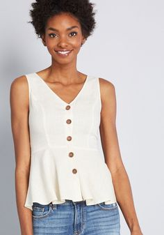 This linen-blend top is simple, yet special. Part of our ModCloth namesake label, this ivory blouse brings the bliss by way of its V-neckline and -backline,. Trendy Tops, Cute Tops, Girl Outfits, Cute Outfits, Navy Blue Blouse, Tank Shirt, White Tank, Sewing Clothes, Modcloth