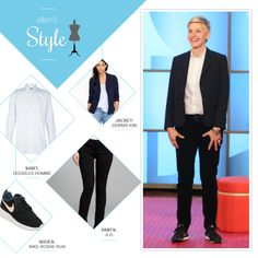 Ellen's Look of the Day: white polka-dot shirt, navy blazer, black pants, black nike's