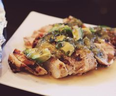 SCD Grilled Chicken w/ Tomatillo-Avocado Sauce (*Use roasted tomatillo salsa & substitute honey for sugar...)