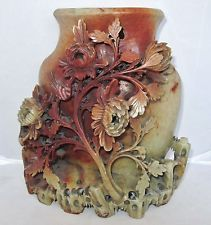 "9.9"" Antique Chinese Hand Carved Orange & Tan Soapstone Vase w/ Flowers & Birds"