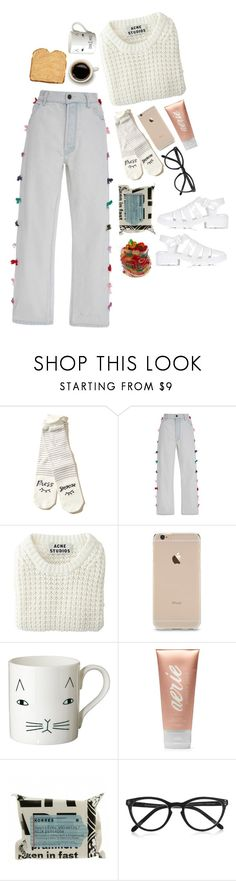 """""""Untitled #446"""" by brooklynistired ❤ liked on Polyvore featuring Hollister Co., Manoush, Acne Studios, Donna Wilson, Aerie, Korres, Selima Optique and Topshop"""