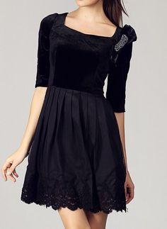 Black Velvet || lbd ||rhinestone bow detail
