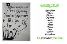 WALL STICKERS Removable Decal Black - Personalise Mum Mummy Daughter Etc