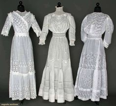 SUMMER TEA GOWNS, white cotton lawn w/ lace insertions Augusta Auctions. One for me and one for each of my tea buddies. Vintage Outfits, Vintage Gowns, Vintage Mode, 1900s Fashion, Edwardian Fashion, Vintage Fashion, Edwardian Style, Fashion Goth, Vintage Beauty
