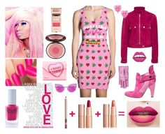 """Hard Candy"" by couture-420-official ❤ liked on Polyvore featuring Nicki Minaj, Preen, Courrèges, Jimmy Choo, Color Club, Happy Embellishments, Fendi, Gucci and monochromepink"