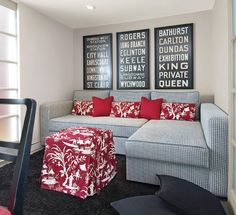 Sectional in a small living room space