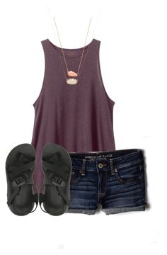 """""""dayy 6"""" by ellaswiftie13 ❤ liked on Polyvore featuring RVCA, American Eagle Outfitters, Chaco, Kendra Scott and graciesspringbreak16"""