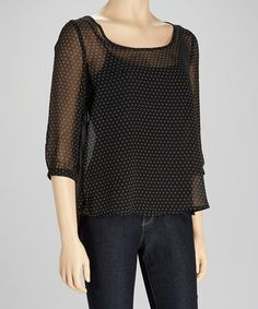 Take a look at this Black Sheer Polka Dot Top by Michael Brandon on #zulily today!