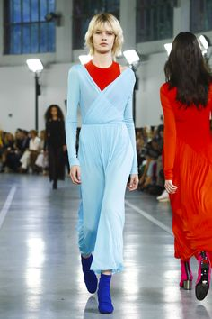 """A tribal mood is making waves at Emilio Pucci. Bold tones, plays on color blocking and large straw hats, all finished off with a sporty touch. """"I've studied the language and the archive o..."""