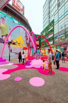 Paint Drop is a creative public space intervention designed to create a visual link between the main plaza and a newly open retail space, to firstly. Paint Drop, Creative Skills, Color Of Life, Land Art, Public Art, Installation Art, Event Design, Color Splash, Kids Playing