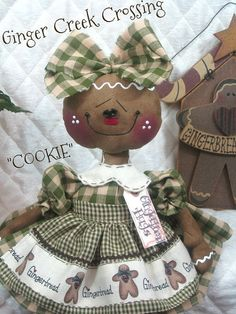 Primitive NEW Raggedy Gingerbread Doll by GingerCreekCrossing, $39.95