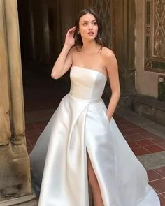 Wedding Dress 2020 Fabric: satin Tailoring Time: 10 to 15 days (except holiday) Dress Receiving time=tailoring time+shipping time Shipment Method: DHL, Fedex, Aramex Delivery working days) Slit Wedding Dress, Wedding Gowns With Sleeves, Classic Wedding Dress, Black Wedding Dresses, Prom Dresses, Wedding Dress Fabric, Gold Formal Dress, Formal Gowns, Pink Evening Gowns