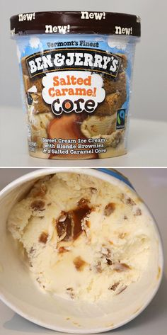 Pin for Later: The Best of the Best New Supermarket Snacks of 2014 Ben & Jerry's Salted Caramel Core Ice Cream Ice Cream Flavors List, Sweet Cream Ice Cream, Snack Recipes, Snacks, Dessert Recipes, Delicious Desserts, Yummy Food, Cute Baking, Savarin