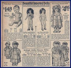 1916 Sears Catalog, imported dolls, top of page Decoupage Vintage, Vintage Ephemera, Vintage Ads, Vintage Prints, Vintage Images, Vintage Costumes, Vintage Dolls, Decoupage Printables, Doll Display