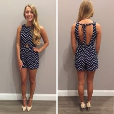 So many new, cute rompers! - $43 #newarrival #navy #chevron #ootd #musthave #springfashion #ontrend #favorite #apricotlaneedesmoines #shoplocal