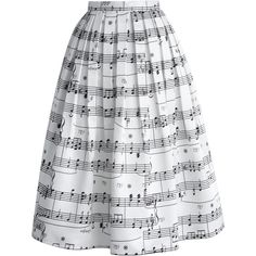 Chicwish Dance With Music Notes Pleated Midi Skirt ($48) ❤ liked on Polyvore featuring skirts, bottoms, music, white, pleated skirt, mid calf skirts, calf length skirts, holiday skirts and white midi skirt