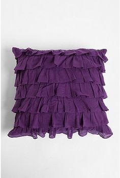 Waterfall ruffle pillow in purple, gray, white and light pink. $39.00 @UrbanOutfitters
