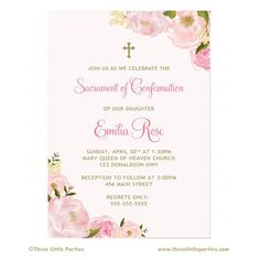 Floral First Communion Invitation - Baptism Invitation - You Print - Pink Confirmation Invitation - Girl Communion Invitation Picture Invitations, Digital Invitations, First Communion Invitations, Baptism Invitations, Boy Printable, Queen Of Heaven, First Holy Communion, Birthday Parties, Place Card Holders