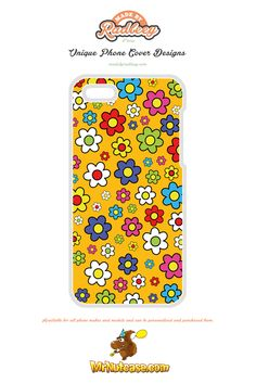 A Flower Power on Yellow phone case available for all phone makes and models and can be personalised and purchased from www.mrnutcase.com