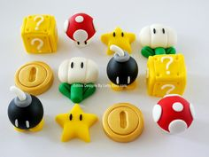 12 Edible Fondant Super Mario Inspired Cupcake Toppers