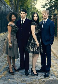 L-R: Angel Coulby (Gwen), Colin Morgan (Merlin), Katie McGrath (Morgana), Bradley James (Arthur). Photographs: Matt Holyoak Styling: Neil Cunningham #Merlin