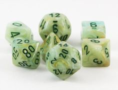 Tell your story in style with Marble Dice (Green). This RPG dice set is made of high-grade plastic and has all your favorite dice: d4, d6, d8, d10, d%, d12, and d20. Marble dice are polished to a glos