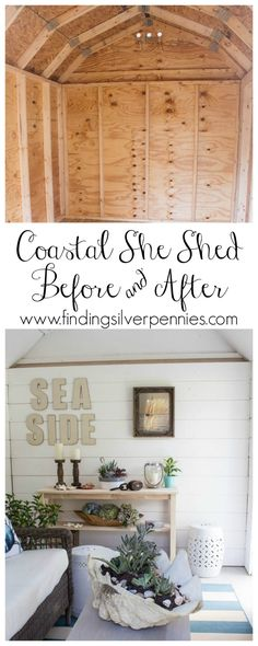 Interior of Coastal She Shed Before and After with ...♥♥...  @homedepot #sponsored