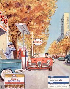 Pubblicità originale Anni 60 ESSO MOTOR OIL advert werbung reklame vintage old Z