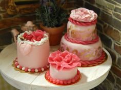 Handmade Miniature Pink Cake with Pink Ruffles by JansPetitPantry