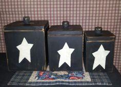 Primitive 3 pc Wood Canister Set Handmade by BlackSquirrelPrims, $42.95