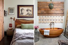 Left: A vintage mug shot hangs above the live-edge headboard in this bedroom. Right: The bathroom features a custom carved-cedar tub by E-legno and clipboards with healthy living affirmations. Photos by Nick Johnson
