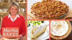 Martha Stewart's Key Lime Pie Recipe + Peach and Coconut Pie | Martha Bakes Classic Episodes - YouTube Sweet Desserts, Just Desserts, Peach Crumble Pie, Keylime Pie Recipe, Martha Stewart Recipes, Key Lime Pie, Pie Recipes, No Bake Pies, Deserts