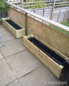 Custom planters made from decking boards Custom planters made from decking boards Balcony Planters, Balcony Deck, Cedar Planters, Garden Planters, Balcony Gardening, Gardening Photography, Garden Projects, Wood Projects, Garden Ideas