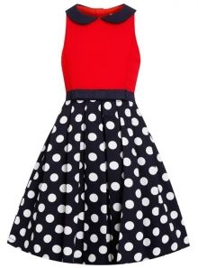 This dress is perfect for your little diva. With a cute Peter Pan collar and contrasting top to skirt, it is perfect for all occasions! Peter Pan Dress, Peter Pan Collar Dress, Red And White Dress, Dress With Bow, Dress Red, Dot Dress, Navy Party, Navy Blue Cocktail Dress, Halloween Dress
