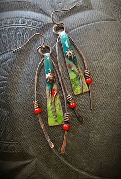 Enameled Charms, Enameled Earrings, Flowers, Wire, Artisan Made, Hoops, African Beads, Organic, Rustic, Primitive, Beaded Earring by YuccaBloom on Etsy
