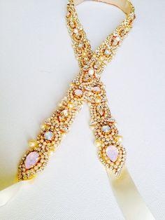 Opal Crystal Bridal Sash - Vintage Wedding - One of a Kind Hand Stitched