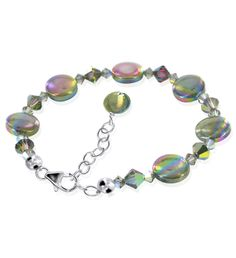 Plus Size Abalone and Swarovski Crystal Sterling Silver 7