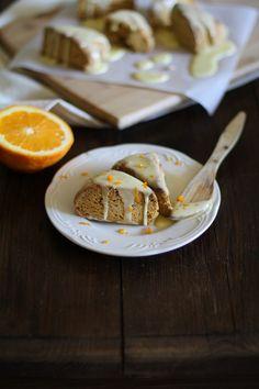 Gluten Free Sweet Potato Scones with Zesty Orange Glaze - - - > www.theroastedroot.net