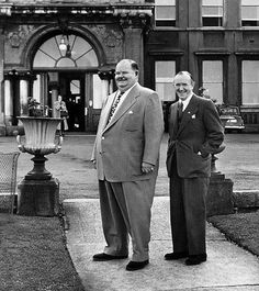 Laurel & Hardy outside The Royal Marine Hotel, Dun Laoghaire, Dublin. They stayed in the hotel for 33 days in 1953. The bar in the hotel has been known as Hardy's Bar ever since.