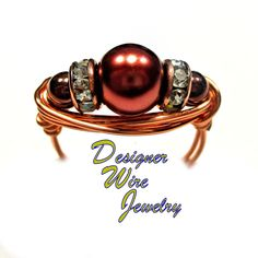DWJ0379 Fabulous Copper Glass Pearl Copper Wire Wrapped Ring All Sizes