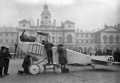 British soldiers inspecting a captured German plane in the Horseguards' Parade, London, November 1915.