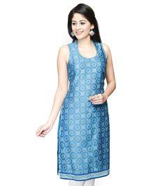 #Blue Printed #Cotton #Silk #Kurta by #Fabindia at #Indianroots