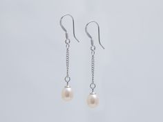 Pink Pearl Drop Chain Earrings