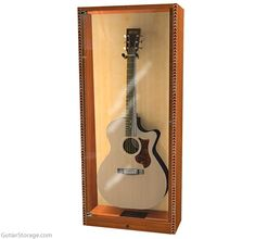 Guitar Storage, Guitar Display, Showcase Cabinet, Guitar Stand, Thing 1, Design Department, Cool Guitar, Wood Cabinets, Display Case