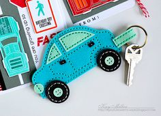 Felt Car Key Chain by Kay Miller for Papertrey Ink (June 2016)