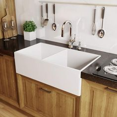 "Miseno MNO3320FC Modena 33"" Double Basin Farmhouse Fireclay Kitchen Sink with 50 White Fixture Kitchen Sink Fireclay"