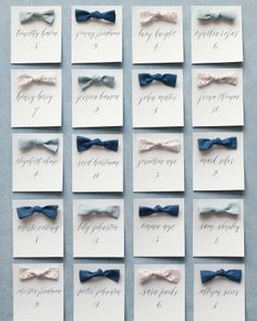 The bows on these escort cards can be removed and pinned over the strap of a dress or onto the lapel of a suit