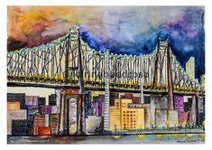 Queensboro Bridge em Aquarela Cathedral, Bridge, Watercolor, Building, Shop, Travel, Saint George, Pen And Wash, Watercolor Painting